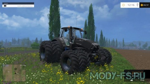 Мод трактор Dynamic8 Deutz Fahr 7250 Black для FS 2015