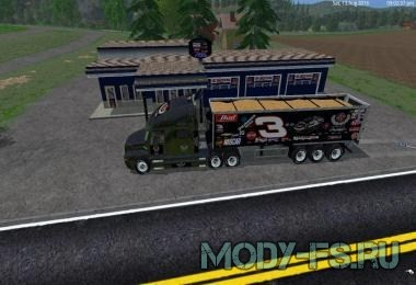 Мод грузовика и прицепа DALE EARNHART CAT TRUCK AND TRAILER BY EAGLE355TH для ФС 2015